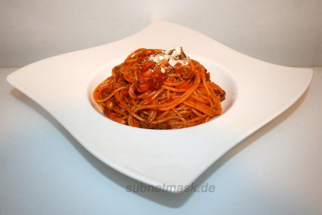 Baked Beans Spaghetti (in Hackfleisch-Tomatensauce) – das Rezept